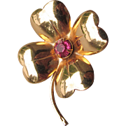 Early CORO Retro 1940's Gold Tone Clover Flower Pink Rhinestone Pin