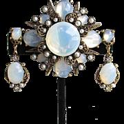 Signed ART Vintage 1960's Opal Glass & Faux Pearl Victorian Revival Maltese Cross Pin & Dangle Earrings Set