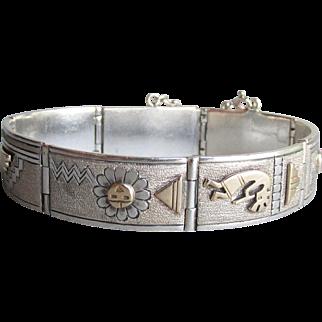 Signed Mark Yazzie Vintage Navajo Native American 14k Gold & Sterling Silver Storyteller Bracelet