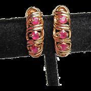 Gold Plated Sterling Silver Vermeil & RUBY Demi Hoop Pierced Vintage Shrimp Earrings