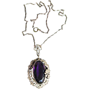 Antique Art Nouveau DRAGON Edwardian Purple Glass Gilt Brass Pendant Necklace