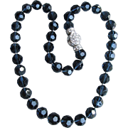 Signed Nolan Miller Vintage Pacific Blue Swarovski Crystal Bead Necklace, MINT In BoX!