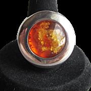 BIG Vintage Genuine Baltic Honey Amber Sterling Silver 1970's Modernist Ring, Size 7