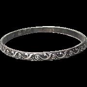 Taxco Mexico 1950's FLORAL Sterling Silver Bangle Size LARGE Bracelet, Signed Eagle 52 Artist Plateria Alejo