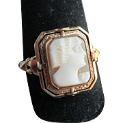 Retro 10 Karat Gold Flip Ring with Etruscan Carved Shell Cameo and Black Onyx