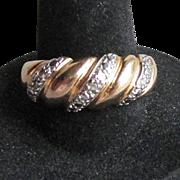 Gold Vermeil Sterling Silver SHRIMP Vintage Diamond Accent Ring, Size 8