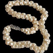 1920's Vintage DOG BONE Shape Imitation Pearl Glass Bead Choker Flapper Necklace