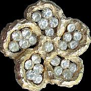 Pretty Signed CORO Vintage Rhinestone PANSY 1970's Mod Flower Pin