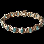 Retro Gold on Sterling Silver Oval Blue Topaz Rhinestone Vintage Vermeil Bracelet