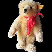 "Vintage 1980's STEIFF Golden Blonde Mohair 10"" Teddy Bear with Ear Button & Squeaker"