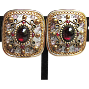 NYC Designer Signed MICHAL GOLAN Etruscan Revival Vintage Clip Garnet Red Cabochon Earrings