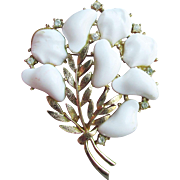 Signed CORO 1950's BIG White Lucite Thermoset & Rhinestone Gold Tone Modernist Flower Bouquet Pin