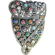 1920's Vintage Art Deco Multi Color Rhinestone Lacy Filigree Dress Clip Pin
