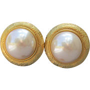 Big 1980's Vintage GIVENCHY Faux Pearl LOGO PIerced Earrings, MINT On Card!