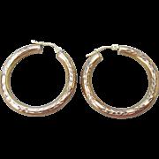 Big Vintage Engraved Gold Plated Sterling Silver Vermeil Hoop Pierced Earrings