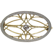 Antique Edwardian 1910's Art Nouveau Brooch in 14k White & Yellow Gold Diamond Vintage Pin