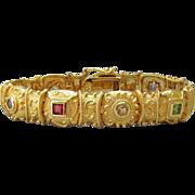 Etruscan Revival Vintage Multi Gemstone in 18k Yellow Gold on Sterling Silver Panel Link Bracelet