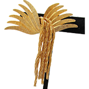 Signed KRAMER New York Wings & Tassels Vintage Gold Tone Pin