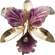 Big 1940's ORCHID Flower Retro Brooch Gold Tone with Purple Enamel Pin