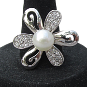Big Vintage Modernist Sterling Silver & Cultured Pearl CZ Petal Flower Ring, Size 7