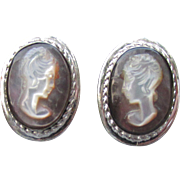 1950's Vintage Signed Van Dell Sterling Silver Carved Iridescent Shell CAMEO Earrings