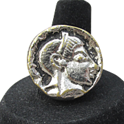 Etruscan Revival 1990's Vintage Roman COIN Ring, Adjustable Silver Tone