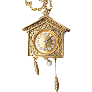 Signed VANDA 1960's Vintage MOD Perfume Clock Locket Necklace