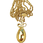 Classic Joan Rivers Vintage Gold Tone EGG Pendant LONG Necklace