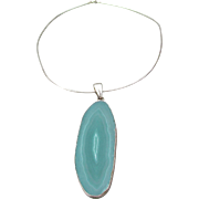 Massive Signed Charles Albert Vintage Teal Green Agate Geode Slice Sterling Silver Necklace