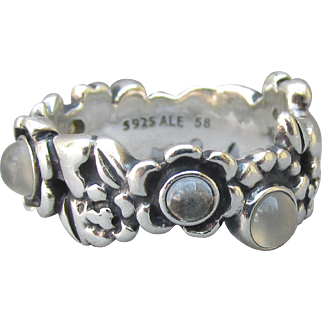 "Pandora ALE Retired MOONSTONE Sterling Silver Flower Band Ring ""Nature's Serenity"" Size 7"