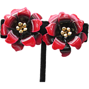 Early CORO Red Enamel Flower Vintage Clip Earrings, MINT