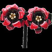 Early CORO Red Enamel Flower Vintage Clip Earrings, MINT