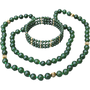 Green Nephrite Jade & 14k Gold Bead Vintage Necklace & Bracelet Set