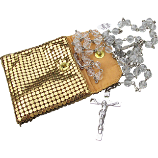 Signed A.G. Inc. 1960's Vintage Crystal & Sterling Silver Rosary in Gold Tone Mesh Pouch