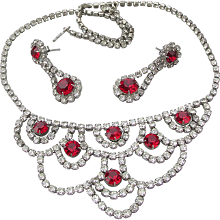 Vintage Crystal with Ruby Red Rhinestone Festoon Necklace & Dangle Pierced Earrings Set