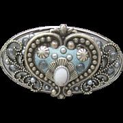 NYC Designer Signed MICHAL GOLAN Etruscan Revival Vintage Silver Tone & Blue Enamel Pin or Pendant