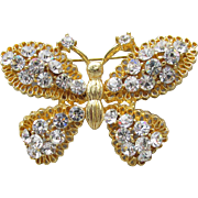 Beauty! Vintage 1970's Filigree Gold Tone Rhinestone BUTTERFLY Pin