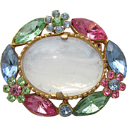 Opaline Mirrored Milk Glass & Multi Color Pastel Rhinestone Flowers 1960's Vintage Pin