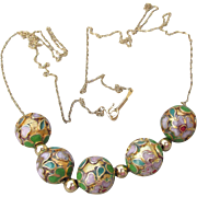 1980's Vintage Add-A-Bead 14k Gold & Cloisonne Bead Necklace
