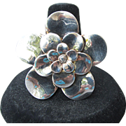 BIG Italian Sterling Silver Vintage FLOWER Ring, Size 9