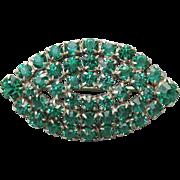 Antique Edwardian Emerald Green Paste Collar Brooch