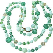 """1920's Vintage German Bohemian Glass Unusual Green Beads 44"""" LONG Flapper Necklace"""