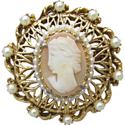 Signed FLORENZA Vintage Cameo & Faux Pearl Gold Tone Filigree Pin Pendant