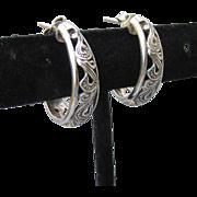 Pretty Open Work PAISLEY Sterling Silver Demi Hoop Vintage Pierced Earrings