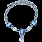 Stunning & Rare Czech Art Deco Sapphire Rhinestone & Molded White Flower Bead Vintage 1920's Flapper Choker Necklace