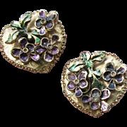 RARE Vintage Signed MOSELL Enamel on Gold Tone Heart Shaped VIOLETS Earrings