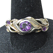 Gorgeous Vintage Sterling Silver Amethyst Vine Band Ring, Size 7.5