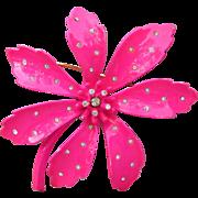 Shocking HOT Pink Vintage 1960's Signed VENDOME Enamel & Rhinestone 1960's Flower Power Pin