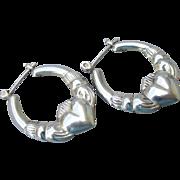 Vintage Sterling Silver Irish Claddagh Pierced Hoop Earrings