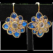 Vintage Signed Joan Rivers 12 Colors Interchangeable Rhinestone Flower Lever Back Pierced Earrings